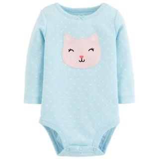 Baby Girl Carter's Polka- Dot Critter Face Bodysuit