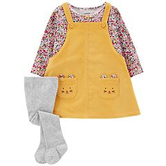 Baby Girl Carter's Corduroy Jumper, Floral Tee & Tights Set