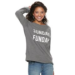 Juniors' 'Sunday Funday, Monday Blues' Raglan Reversible Top