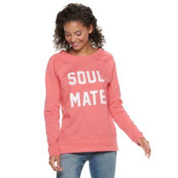 """Juniors' """"Soul Mate, Heartbreaker"""" Raglan Reversible Top"""