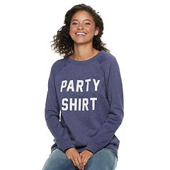Juniors' 'Party Shirt, Chill Shirt' Raglan Reversible Top