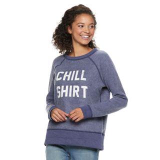 "Juniors' ""Party Shirt, Chill Shirt"" Raglan Reversible Top"