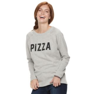"Juniors' ""Pizza, Tacos"" Raglan Reversible Top"