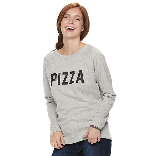 "Juniors' ""Pizza, Tacos"" Raglan Reversible Top"
