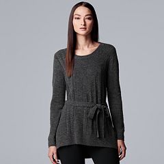 Women's Simply Vera Vera Wang Tie-Front Chenille Tunic Sweater
