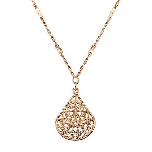 1928 Filigree Teardrop Pendant Necklace
