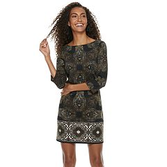 Petite Suite 7 Print Boatneck Ponte Dress