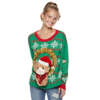 Juniors' It's Our Time Cat Wreath Christmas Sweater