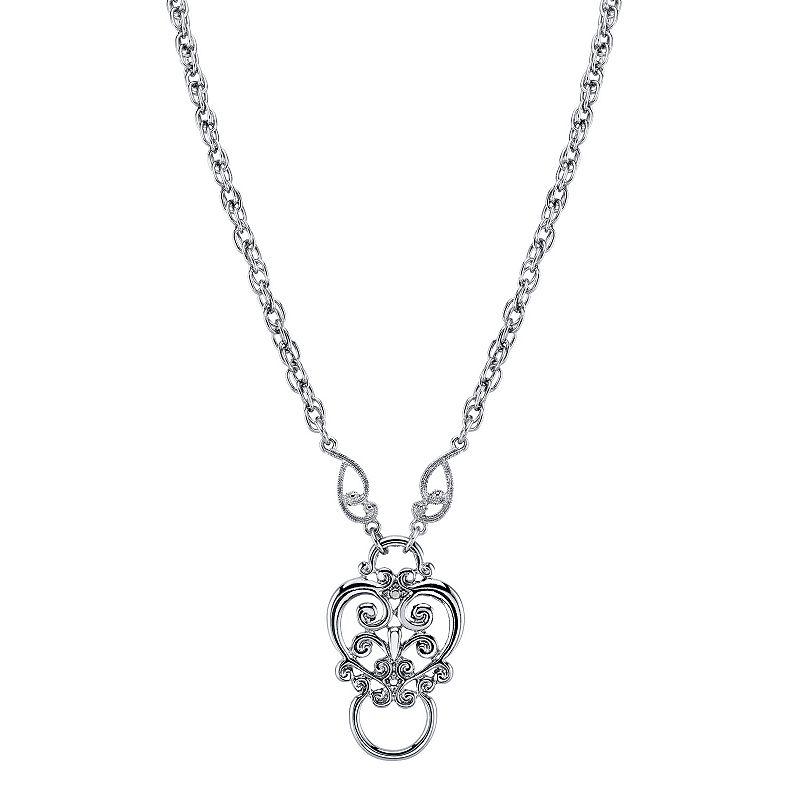 1928 Angel Pendant Necklace. Women's. Grey