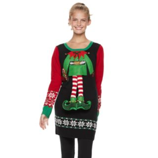 Juniors' It's Our Time Elf Outfit Tunic Christmas Sweater
