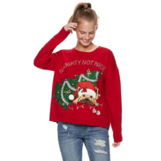 "Juniors' It's Our Time ""Naughty Not Nice"" Dog Christmas Sweater"