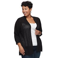 Plus Size Croft & Barrow® Open-Stitch Cardigan