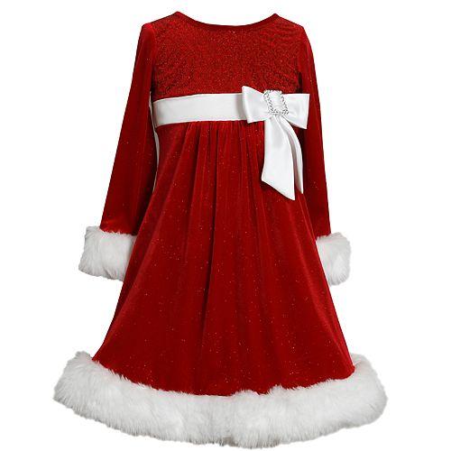 Girls 4-6x Bonnie Jean Glittery Velvet Dress