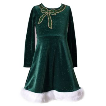 Girls 4-6x Bonnie Jean Sequin Bow Velvet Dress