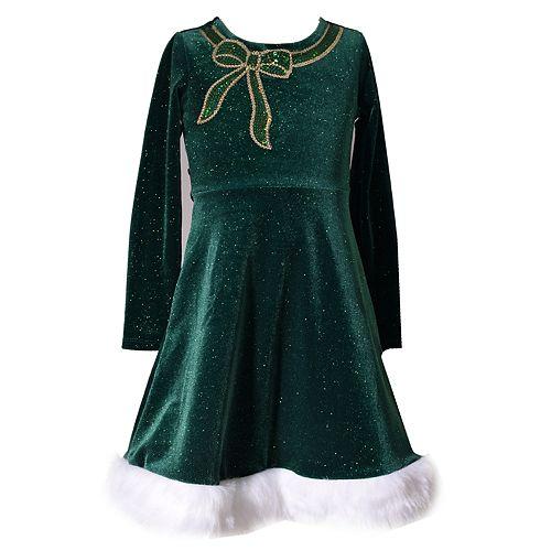 Girls 4-6x Bonnie Jean Sequin Bow Velvet Dress