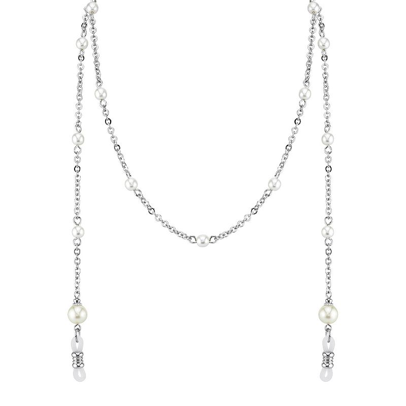 """""""1928 Simulated Pearl Eyeglass Chain. Women's. Size: 30"""""""". Grey"""""""