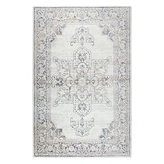 Rizzy Home Panache Transitional Central Medallion Distressed Geometric Rug