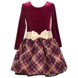 Girls 4-6x Bonnie Jean Long-Sleeve Plaid Velvet Dress