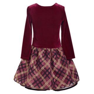 Girls 4-6x Bonnie Jean Long-Sleeve Plaid Velvet Dress