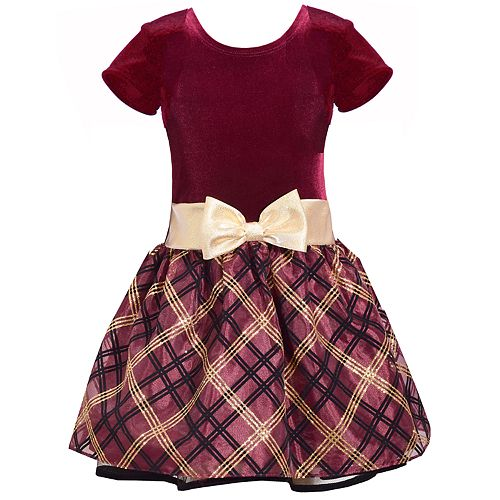 Girls 4-6x Bonnie Jean Short-Sleeve Plaid Velvet Dress