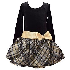 Girls 4-6x Bonnie Jean Drop-Waist Velvet Taffeta Long-Sleeve Dress