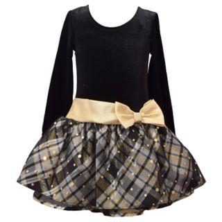 Girls 4-6x Bonnie Jean Drop-Waist Velvet Taffeta Long-Sleeve Dress