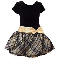 Girls 4-6x Bonnie Jean Drop-Waist Velvet Taffeta Short-Sleeve Dress