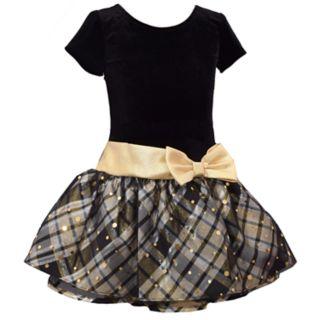 Girls 4-6x Bonnie Jean Drop-Waist Velvet Taffeta Short-Sleeve Dress