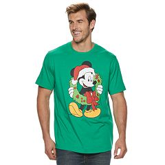 big tall mickey mouse santa wreath holiday tee