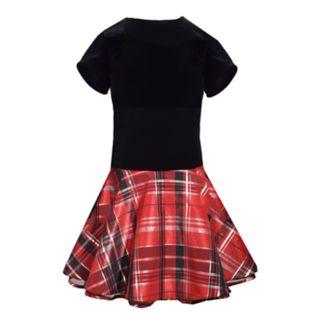 Girls 4-6x Bonnie Jean Short-Sleeve Velvet Plaid Dress