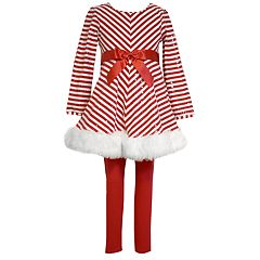 Girls 4-6x Bonnie Jean Striped Santa Dress & Leggings Set