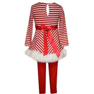Girls 4-6x Bonnie Jean Striped Santa Dress & Leggings Set