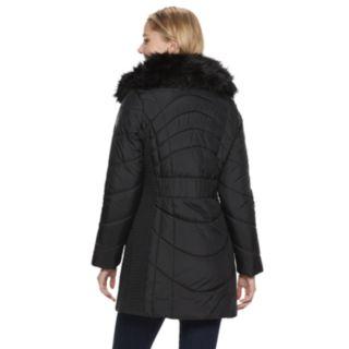 Women's Weathercast Faux-Fur Collar Puffer Walker Coat