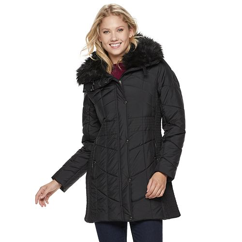 Women's Weathercast Faux-Fur Collar Puffer Walker Coat