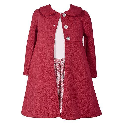 Girls 4-6x Bonnie Jean Plaid Dress & Textured Coat Set