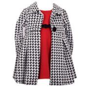 Girls' 4-6x Bonnie Jean Textured Dress & Houndstooth Coat Set