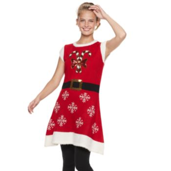 Juniors' It's Our Time Candy Cane Tunic Christmas Sweater