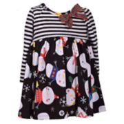 Girls 4-6x Bonnie Jean Striped Snowman Dress