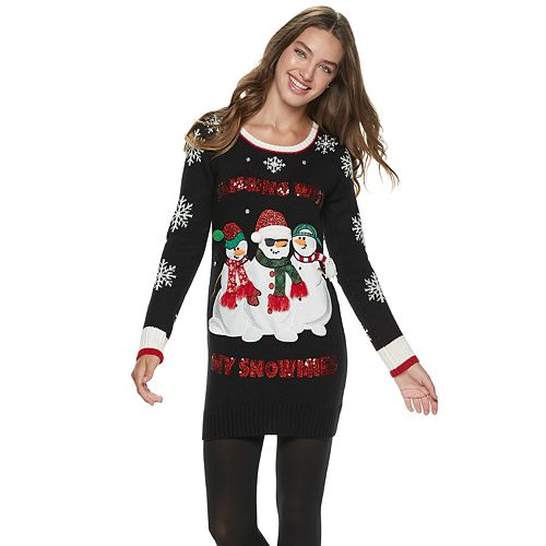 """Juniors' It's Our Time """"Hanging With My Snowmies"""" Christmas Tunic"""