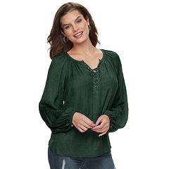 Women's Jennifer Lopez Lace-Up Satin Peasant Top
