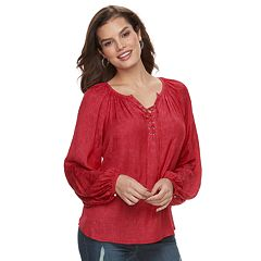 24ce08e4bc94bc Women s Jennifer Lopez Lace-Up Satin Peasant Top