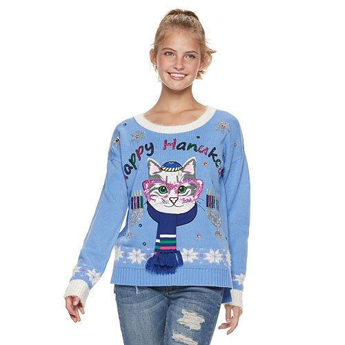 "Juniors' It's Our Time ""Happy Hanukcat"" Holiday Sweater"