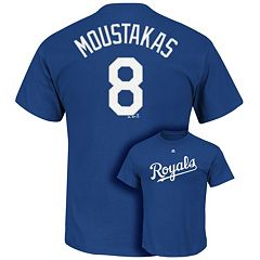 Men's Majestic Kansas City Royals Mike Moustakas Player Name and Number Tee