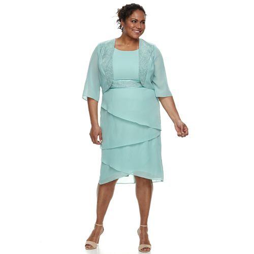 bce28e6f7d24 Plus Size Le Bos Tiered Georgette Evening Gown & Jacket Set