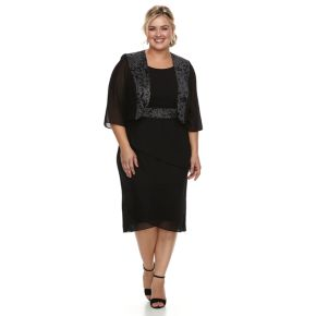 Plus Size Le Bos Tiered Georgette Evening Gown & Jacket Set