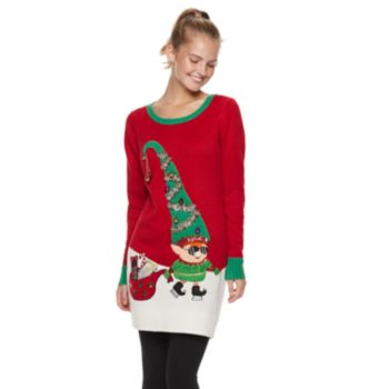 Juniors' It's Our Time Sunglasses Elf Tunic Christmas Sweater