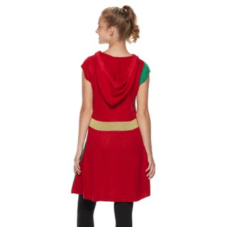 Juniors' It's Our Time Hooded Present Tunic Christmas Sweater