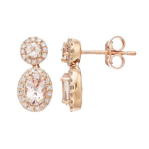 10k Rose Gold Morganite & 1/4 Carat T.W. Diamond Oval Drop Earrings