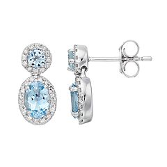 10k White Gold Aquamarine & 1/4 Carat T.W. Diamond Oval Drop Earrings