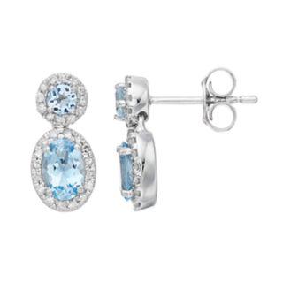 10k White Gold Aquamarine & 1/4 Carat T.W. Diamond Oval Drop Earrings